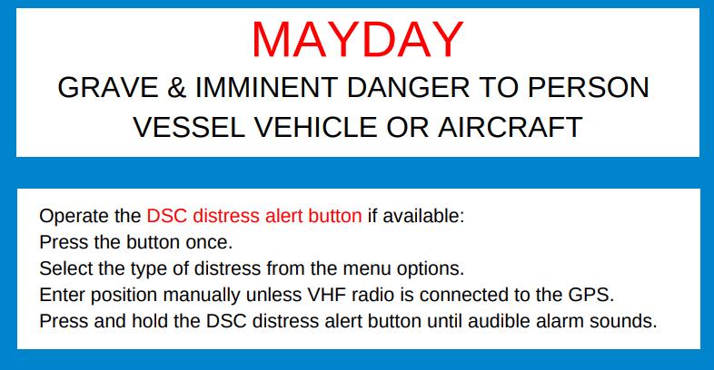 VHF Mayday call